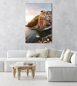 Docked boats and colorful buildings at sunset in Riomaggiore Cinque Terre in an acrylic/perspex frame