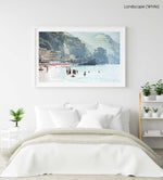 People swimming at castle and hills of Monterosso in Cinque Terre in a white fine art frame