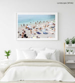 Beach goers lying on sand at italian beach in a white fine art frame