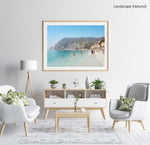 Hot sunny day with people swimming at Monterosso beach Italy in a natural fine art frame