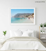 Hot sunny day with people swimming at Monterosso beach Italy in a white fine art frame