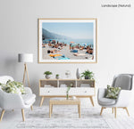 People lying on towels in the sun on Monterosso beach in Cinque Terre in a natural fine art frame