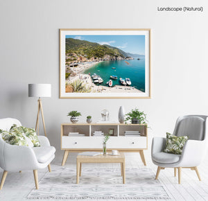 Boats docked along promenade of old town Monterosso during summer in Cinque Terre in a natural fine art frame