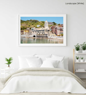 Church of Vernazza next to water in Cinque Terre in a white fine art frame