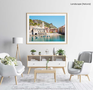 Beach, boats and colorful buildings of Vernazza in Cinque Terre in a natural fine art frame