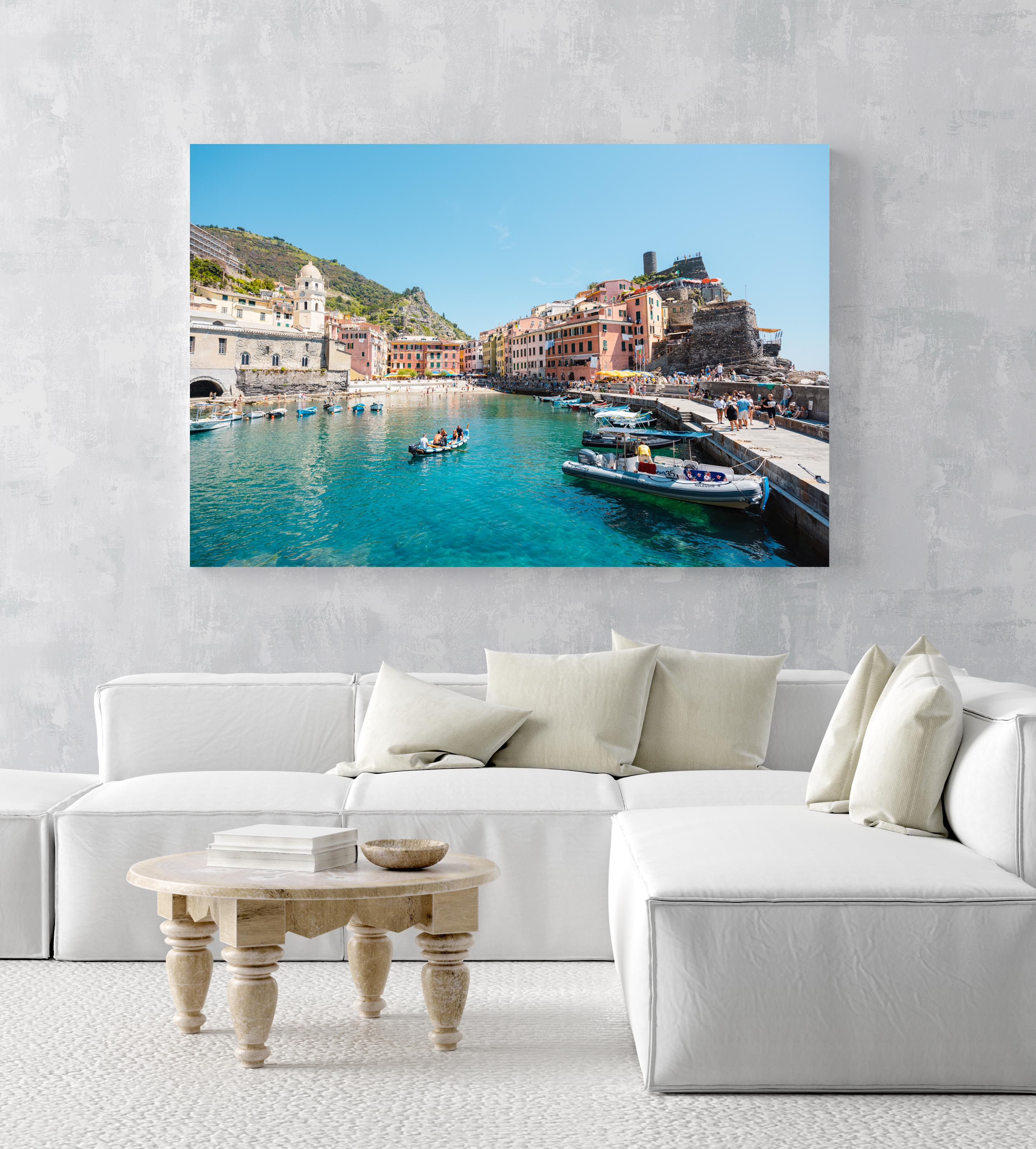 People on boat in blue water in colorful Vernazza of Cinque Terre in an acrylic/perspex frame