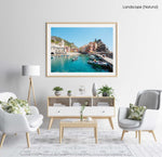 People on boat in blue water in colorful Vernazza of Cinque Terre in a natural fine art frame