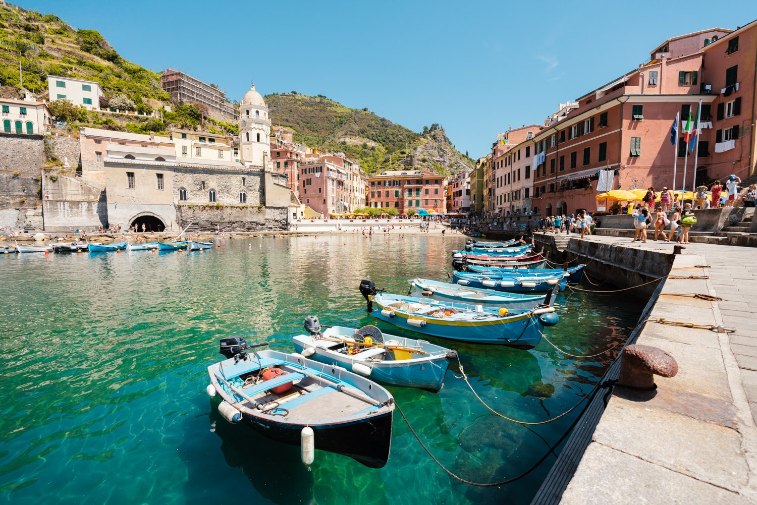Boats lined up at Promenade in Vernazza Cinque Terre