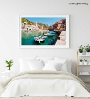 Boats lined up at Promenade in Vernazza Cinque Terre in a white fine art frame