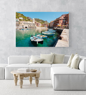 Boats lined up at Promenade in Vernazza Cinque Terre in an acrylic/perspex frame