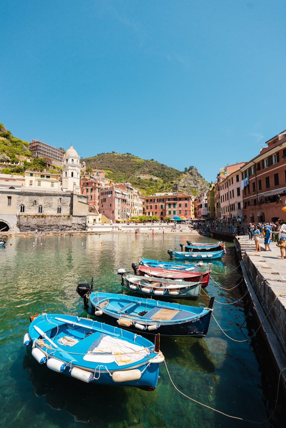 Boats lined up at Promenade in Vernazza Italy