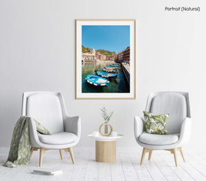 Boats lined up at Promenade in Vernazza Italy in a natural fine art frame