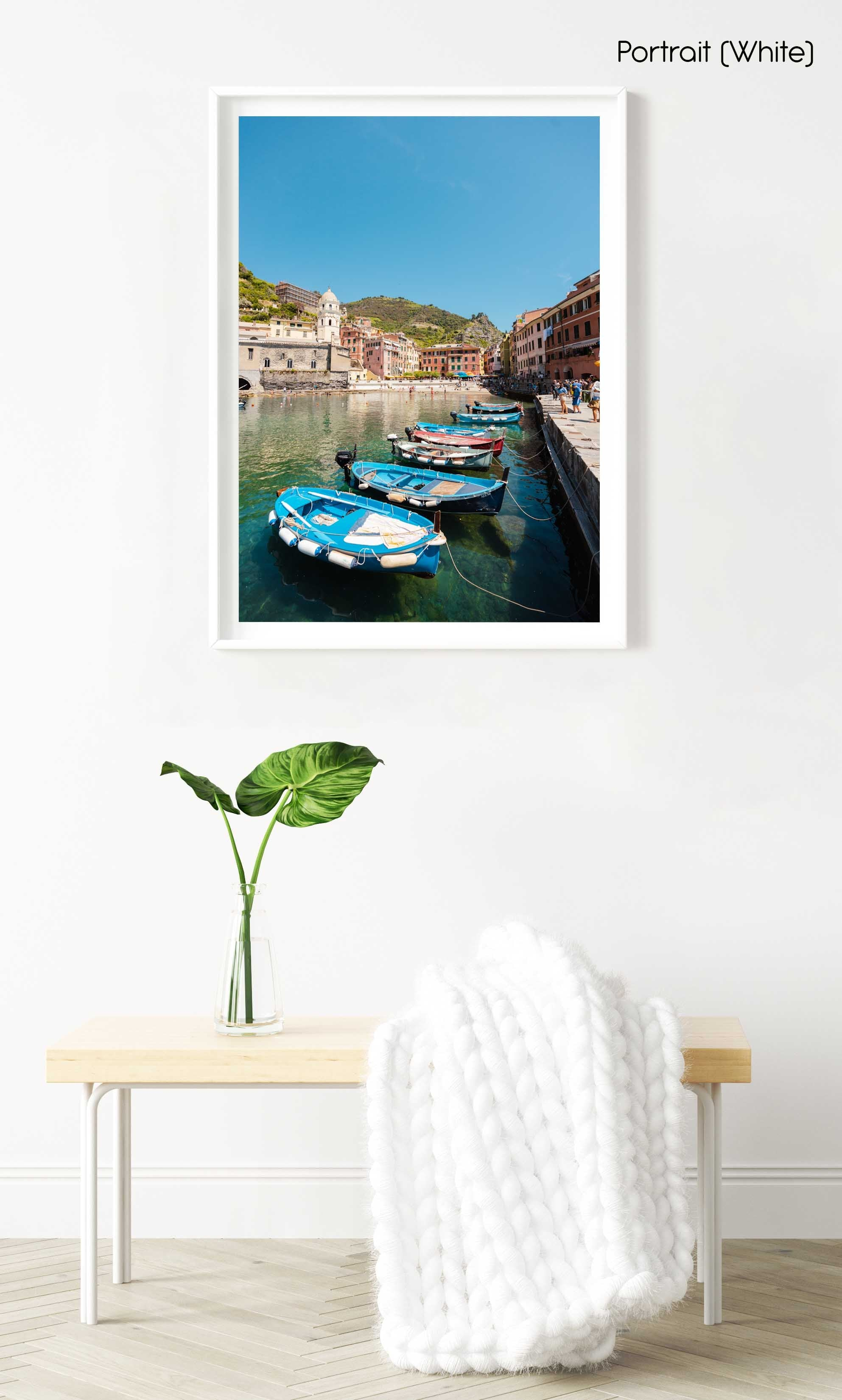 Boats lined up at Promenade in Vernazza Italy in a white fine art frame