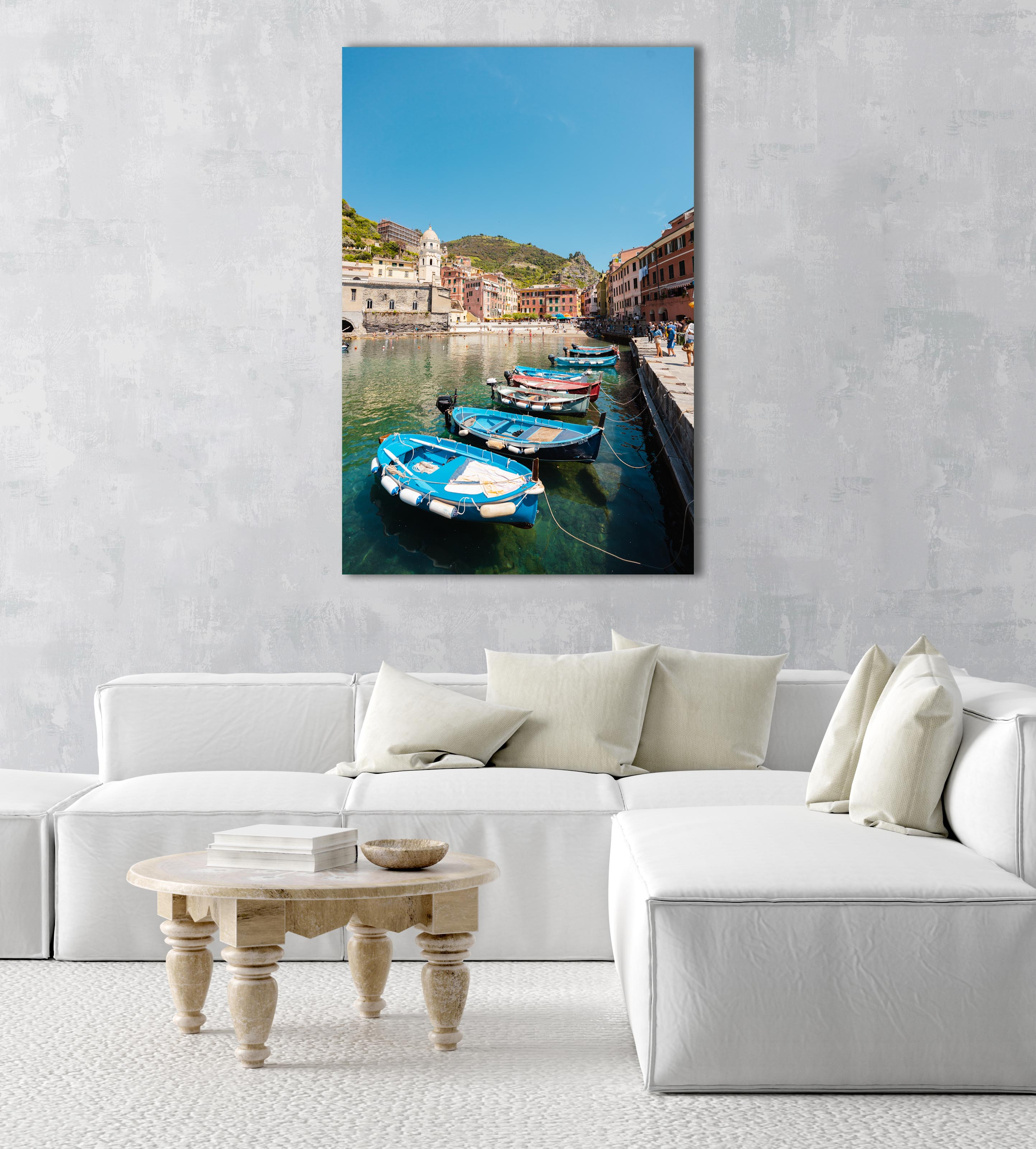 Boats lined up at Promenade in Vernazza Italy in an acrylic/perspex frame