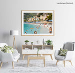 Busy Monterosso beach with people swimming, snorkeling and chilling on summers day in a natural fine art frame