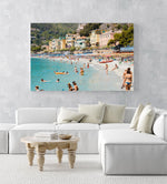 Busy Monterosso beach with people swimming, snorkeling and chilling on summers day in an acrylic/perspex frame