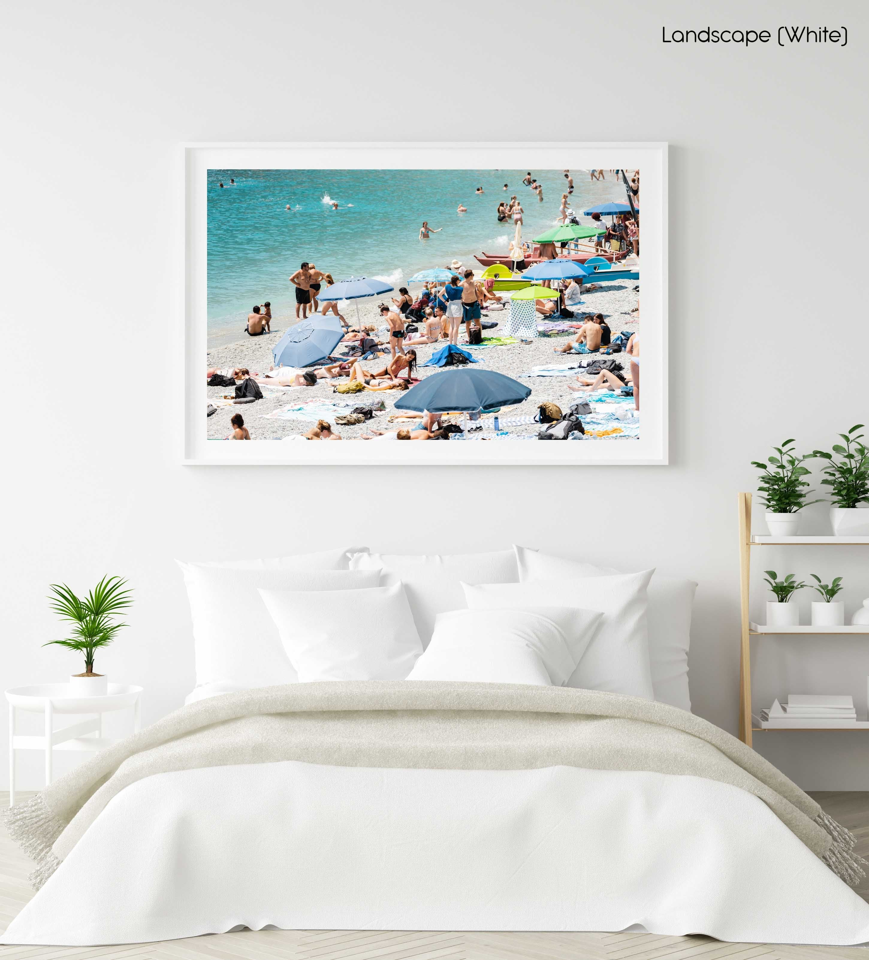 Busy beach day in Cinque Terre in a white fine art frame