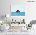 Big rock in middle of blue ocean Cinque Terre in a natural fine art frame