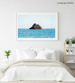 Big rock in middle of blue ocean Cinque Terre in a white fine art frame