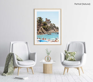 Castle at Lloret de Mar beach in Spain in a natural fine art frame