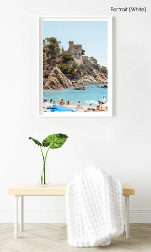 Castle at Lloret de Mar beach in Spain in a white fine art frame