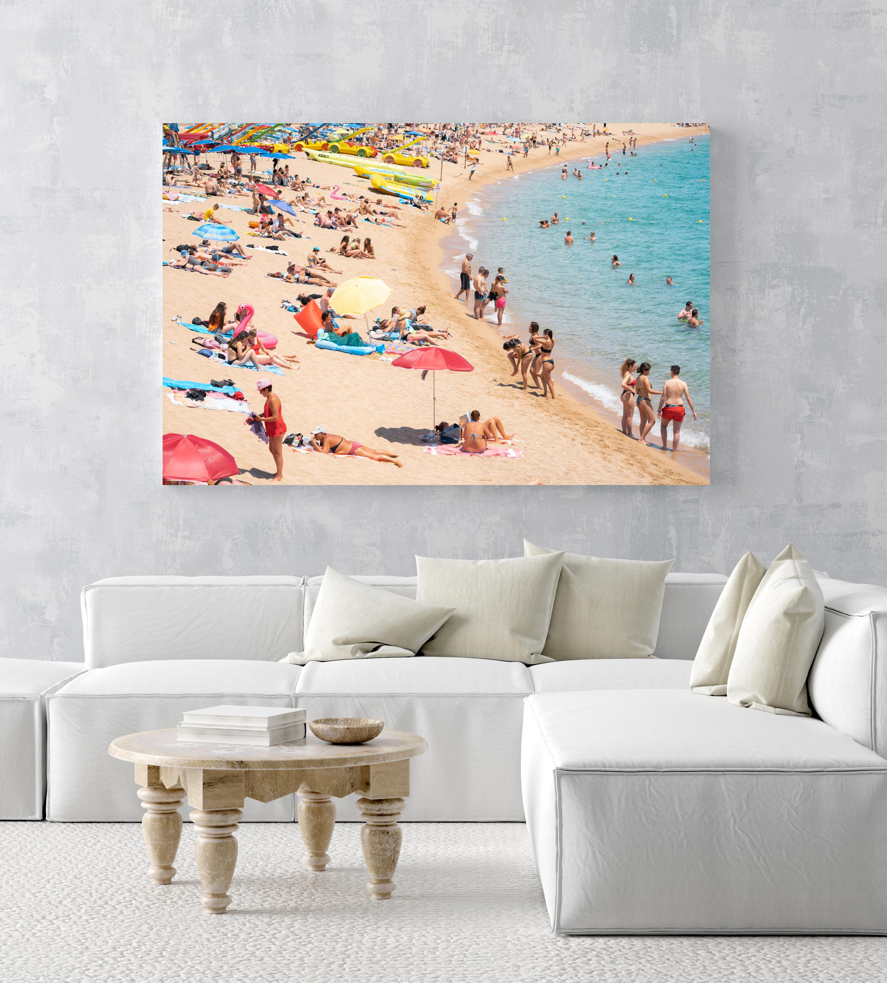 Colors of umbrellas, sand and people on Lloret de Mar beach in an acrylic/perspex frame
