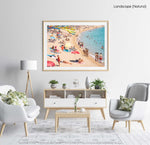 Colors of umbrellas, sand and people on Lloret de Mar beach in a natural fine art frame
