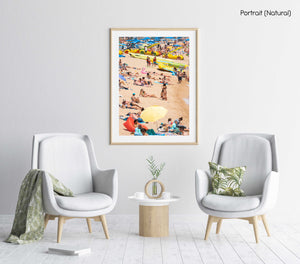 People lying on beach in Costa Brava in a natural fine art frame