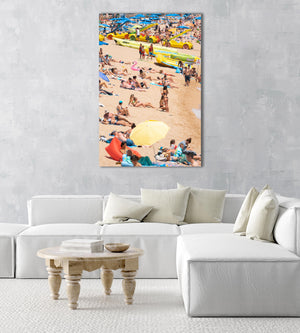 People lying on beach in Costa Brava in an acrylic/perspex frame