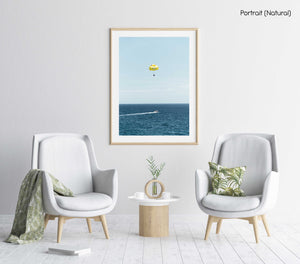 Yellow parasail behind boat in Costa Brava Spain in a natural fine art frame