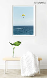 Yellow parasail behind boat in Costa Brava Spain in a white fine art frame