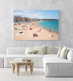 Crowded beach of Lloret de Mar with blue water in summer in an acrylic/perspex frame