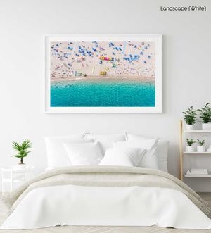 Aerial of blue water and beach goers at Lloret de Mar Costa Brava in a white fine art frame