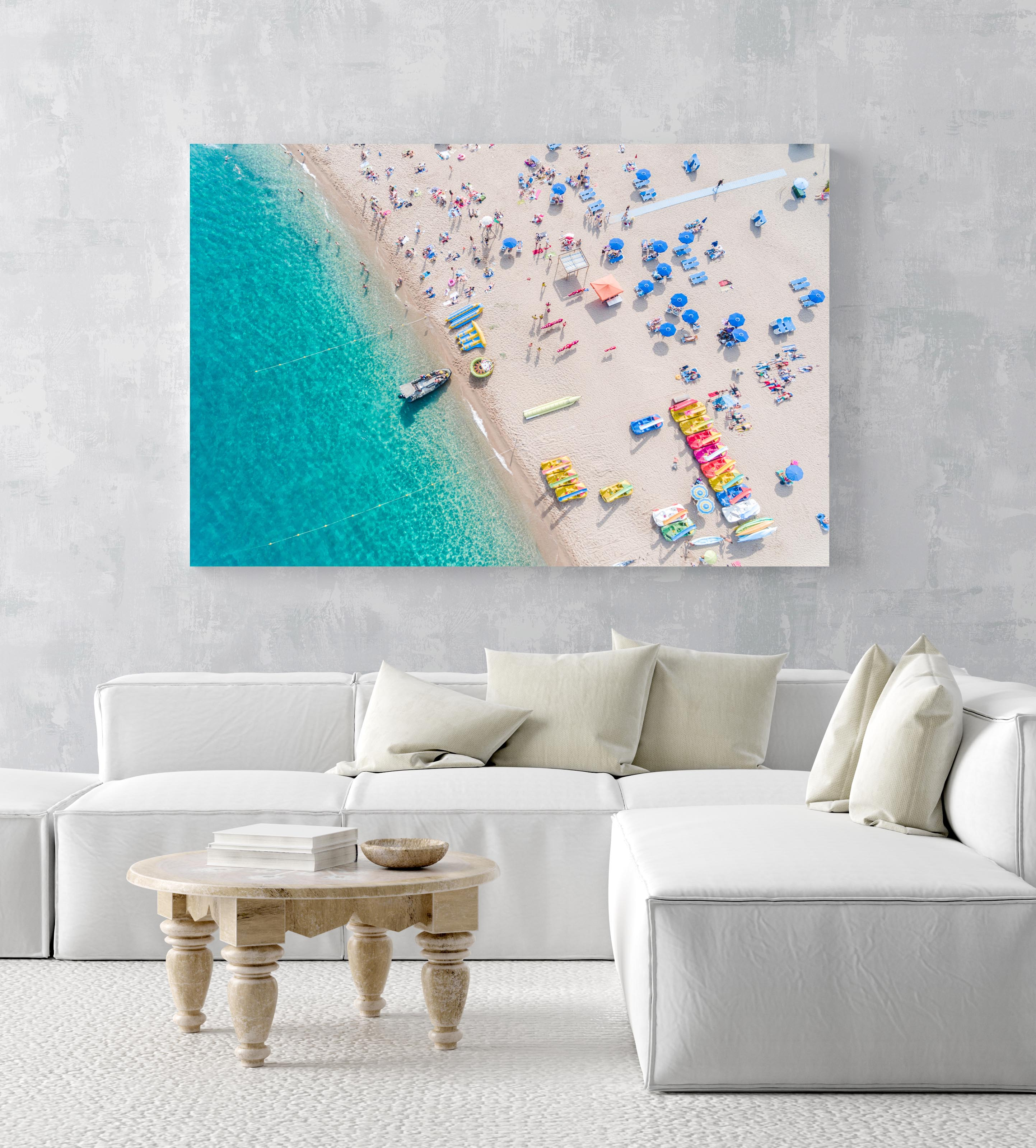 Boat parked off in blue water at Lloret de Mar beach Costa Brava in an acrylic/perspex frame