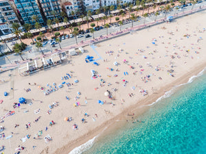 Aerial of Lloret de Mar beach from high above