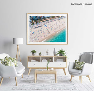 Aerial of Lloret de Mar beach from high above in a natural fine art frame