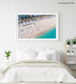 Aerial of Lloret de Mar beach from high above in a white fine art frame