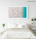 Busy beach day in Lloret de Mar during summer from aerial point in a white fine art frame