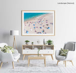 High above people swimming and tanning along Lloret de Mar beach in a natural fine art frame