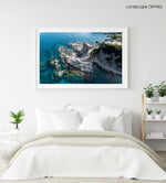 Stairway from above along blue water of Costa Brava in a white fine art frame