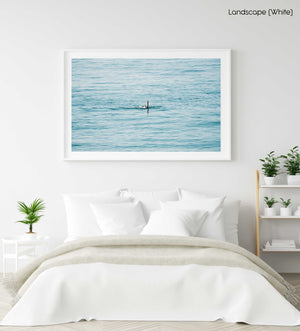 Woman swimming backstroke in the ocean in Costa Brava in a white fine art frame