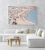 Busy beach full of people in Tossa de Mar in an acrylic/perspex frame