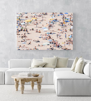 Very crowded beach full of people in Tossa de Mar in an acrylic/perspex frame