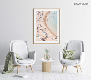 Light colors of people swimming at Tossa de Mar beach in a natural fine art frame
