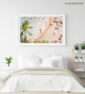 Playa Es Codolar beach goers and swimmers in a white fine art frame