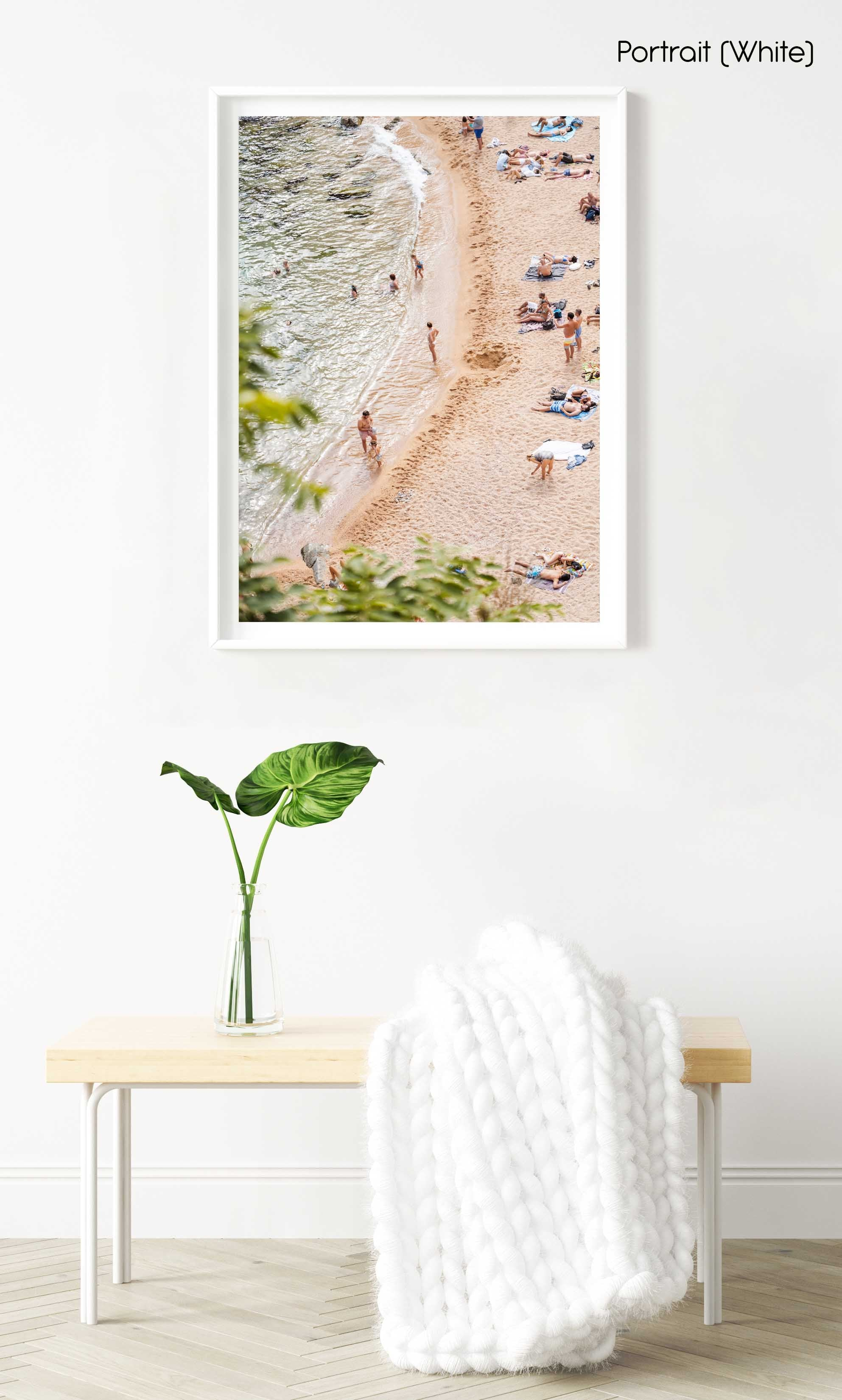 Playa Es Codolar beach goers and swimmers in water in a white fine art frame