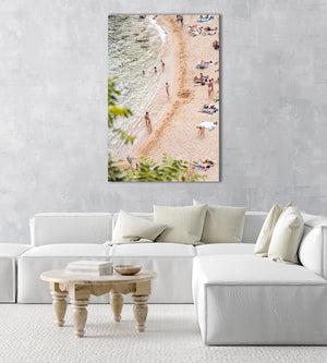 Playa Es Codolar beach goers and swimmers in an acrylic/perspex frame