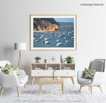 Many boats anchored off in ocean along Tossa de Mar beach in Spain in a natural fine art frame