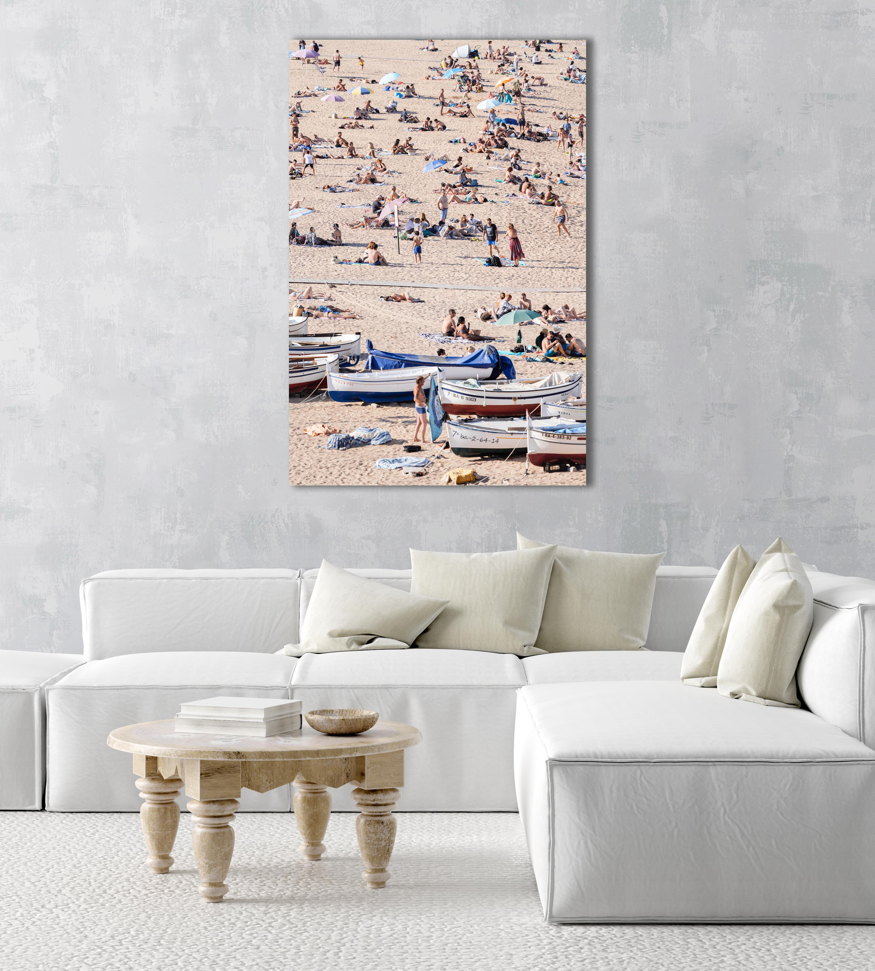 Boats and people scattered on Tossa de Mar beach in an acrylic/perspex frame