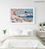 Sailing boat parked on a crowded beach in Spain in a white fine art frame